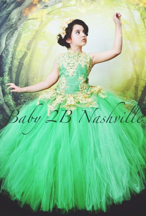 Emerald Green Dress Gold Dress Flower Girl Dress Princess Dress Tulle Dress Lace Dress Wedding Dress Birthday Dress Tutu Dress Girls Dress