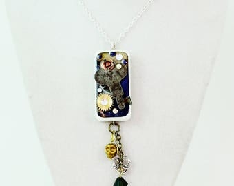 Steampunk Domino - Couture Domino Resin Steampunk Key,gear ,rose,anchor,skull and Czech crystal Necklace