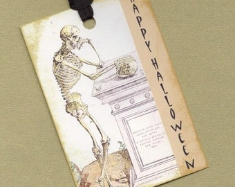 On Sale A Thoughtful Skeleton for Halloween Gift Tag Set, Hang Tags, Bookmarks, Trick or Treat Embellishments PSS 0545