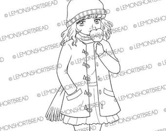 Digital Stamp Candy Apple Girl, Digi Download, Toffee Caramel, Autumn Winter Fall, Coloring Page, Clip Art, Scrapbooking Supplies