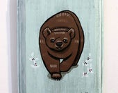 Bear Painting - Original Wall Art Acrylic Small Painting on Wood by Karen Watkins - Woodland Animal on Mint Miniature Wall Art