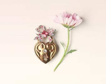 Vintage heart lock pin, Gold rhinestone brooch - BLUE or PINK- bridal keepsake, Gift for bride, Something blue, good luck pin, boutonniere