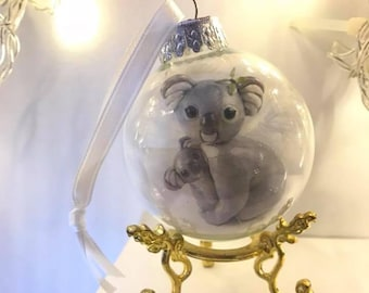 Glass ornament with mommy and baby koala art print inside - stand not included