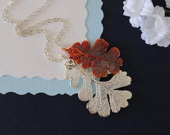 Real Leaf Necklace Double Oak, Lacey Oaks Sterling Silver & Copper, DLC68