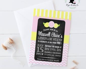 DIY Lemonade Stand Invitation, Pink Lemonade Stand 1st Birthday, Lemonade Stand Birthday Party, Printable Invitation, 1st Birthday Party
