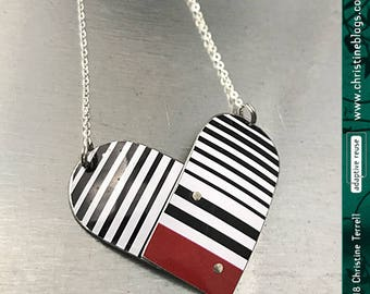 Black & White Tin Heart Recycled Necklace Valentine Gift Tin Anniversary Birthday Gift Bridesmaid Gift Love Ethical Fashion Friend Wife Gift