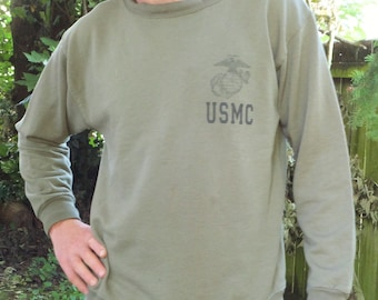 Vintage USMC Sweatshirt Marines Sweatshirt Size Medium Army Green Shirt Men's Military Top Pullover Long Sleeve Lightweight Sweatshirt