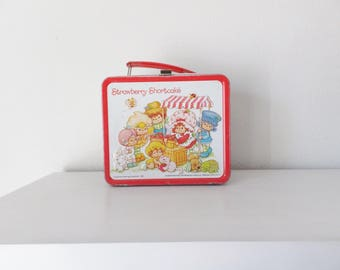 Vintage Strawberry Shortcake Lunchbox & Thermos Vtg 1980's Cartoon Character Lunch Box Collectible Nostalgic Retro 80's Child's Lunch Tin
