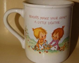 1983 Hallmark Friendship Coffee Mug, Betsy Clark, Mug Mates, Friends make your heart a little lighter, Made in Japan