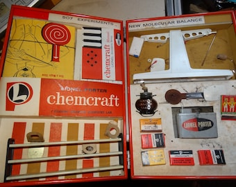 Lionel Porter Chemcraft Chemistry Lab 4 Panel Kit Vtg Prop USA Scale Chemicals, Science Lab, Beaker, Scales,