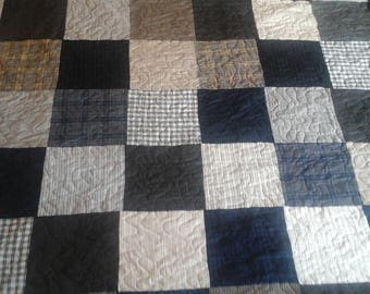 Large plaid king size quilt