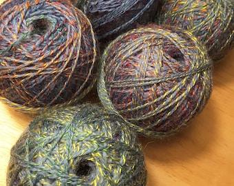 Sock weight Yarn- Multicolored Variegated- self striping- knitting or crochet - 5 center pull balls - destash