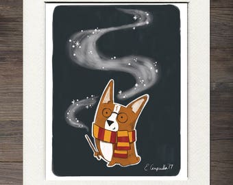 Corgi Harry Potter Matted Art Print