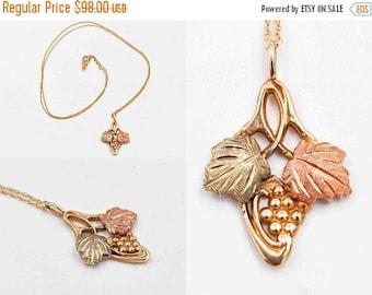 Vintage Black Hills Gold 10K Gold Pendant Necklace, Tri-Color Gold, Grapes, Leaves, Signed, South Dakota Gold Co. #c357 c358