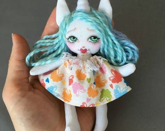 Unicorn Rainbow miniature Rag Doll for Your or Your Dolls, Forest animal art doll for Blythe and BJD, tiny cloth doll turquoise jointed