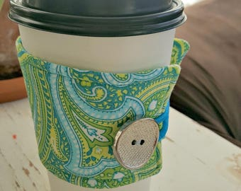 Green, Aqua and White Paisley Java Jacket/Coffee Sleeve with Vintage Button