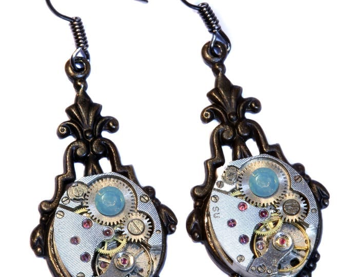 Steampunk Earrings - Pacific Opal Swarovski Crystal
