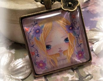 Girls Jewelry, Necklace for Girls, Art Pendant, Flowers, Whimsical Jewelry, Big Eyes, Pendant Necklace, Cute Jewelry, Antique Bronze, Square