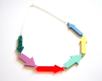 Arrow Necklace, Laser Cut Acrylic Necklace, Handmade by RockCakes, Brighton, UK