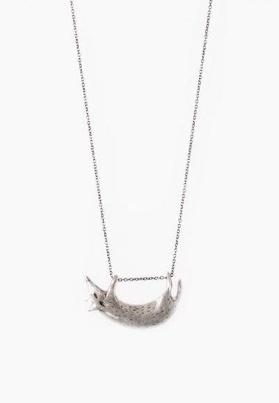 silver sterling FOX necklace FREE SHIPPING