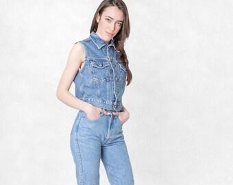 CALVIN KLEIN 90S denim VEST vintage sleeveless jacket Cropped blue jean Women / Size Medium