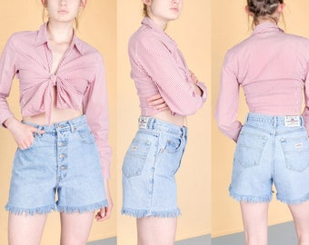 HIGH WAIST JEAN shorts Mom 90s denim vintage Button fly frayed hem light wash / size 6 / 28 waist