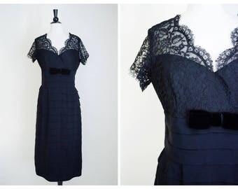 Vintage 1950's black lace illusion dress