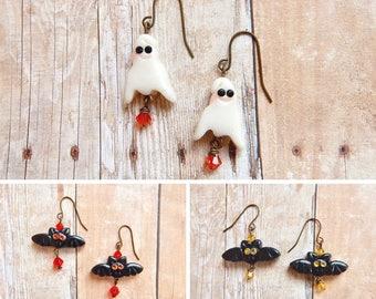 Halloween earrings your choice - Bat earrings - ghost earrings - halloween jewelry