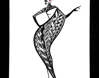 Graphic Shell Dress - Black and White Fashion Illustration