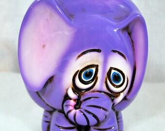 Vintage Mid Century Purple Elephant Ceramic Bank With Sad Eyes