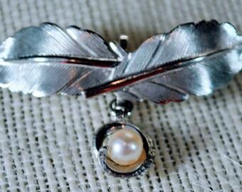Vintage Sterling Silver Carl Art Cultured Pearl Leaf Pin Brooch