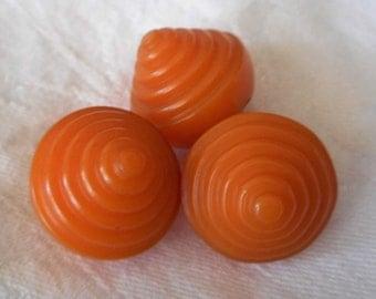 Set of 3 VINTAGE Chunky Peak Carved Orange Bakelite BUTTONS