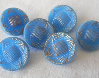 Set of 6 VINTAGE Small Gold Trim Blue Glass BUTTONS