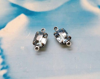 Vintage Light Blue Sapphire 10x8mm CZECH Crystal Stones in a Silver Ox Connector Prong Setting  432SOXCON x2