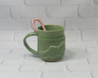 Ceramic Mug - Pottery Mug - Pottery Coffee Mug - Ceramic Coffee Cup - Ceramic Mug - Tea Mug - Green Mug - Large Mug