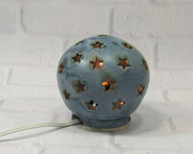 Featured listing image: Starry Nights Nursery Light, Stars Lamp, Blue Nursery Light, Night Light Kids Nursery, Nursery Decor, Mood Lighting, Baby Shower Gift