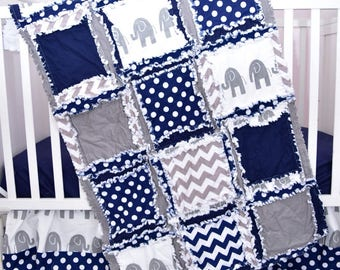 Elephant Crib Set - Navy / Gray Crib Bedding - Baby Bedding Sets- Jungle Nursery- Safari Nursery- Crib Size Rag Quilt, Sheet, Skirt, Bumper