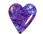 Polymer Clay Large Heart Purple Focal Cabochon Artisan Bead Embroidery Pendant Cab Handcrafted Bead Jewelry Making