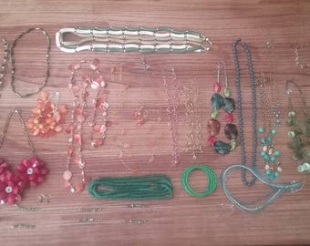 Jewelry Lot, Colored Jewelry Lot, Mixed Jewelry Lot, Necklace Lot, 26 Pc. Necklace and Other Jewelry, Colorful Lot,