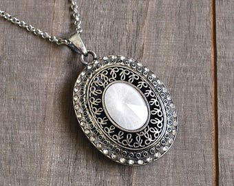 Lady of the Manor Large Oval Intricately Carbed Silver Pendant Medieval Medallion Necklace