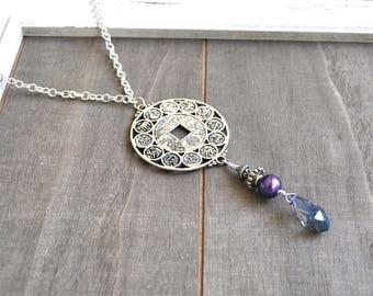 Zodiac Horoscope Tassel Necklace Animal Zodiac Wheel Crystal Fringe Tassel Style Pendant Double Sided Medallion