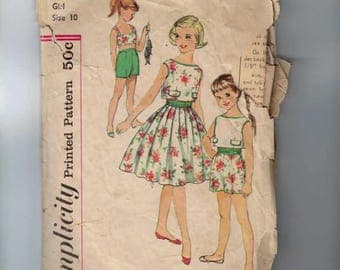 1960s Vintage Childs Sewing Pattern Simplicity 3024 Girls Bra Top Shorts Overblouse Skirt and Cummerbund Size 10 Breast 28 60s 1960s