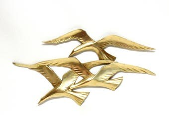 Vintage Brass Wall Hanging Featuring Three Seagulls in Flight by Penco