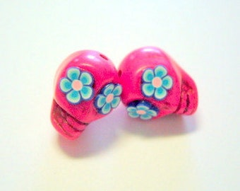 Pink and Blue Day of The Dead Sugar Skull Beads-12mm