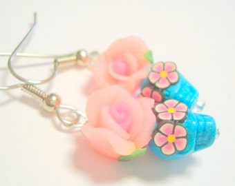 Skull Earrings Turquoise Pink Day of the Dead Sugar Skull and Rose Earrings