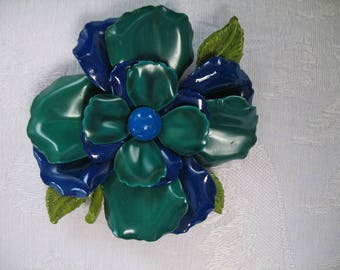 Vintage Blue and Green Brooch