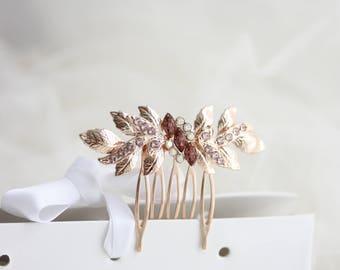Bridal Hair Comb, Swarovski Hair Comb, Blush Pink Hair comb, Wedding Hair Accessories, Rose Gold Hair Comb, Champagne Blush Hair Comb MIRA