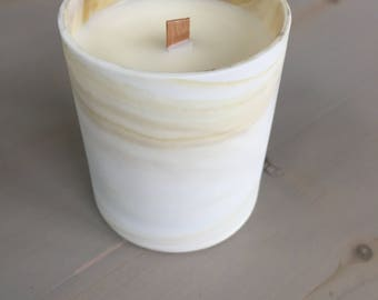 OOAK Volcano Scented Soy Candle, Lemon Vanilla, Black and White Ceramic Container