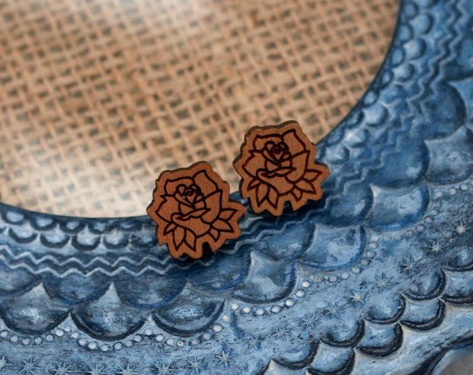 Rose Earrings, Wooden Flower Earrings