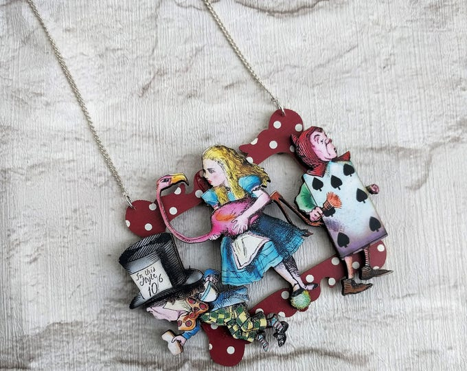 Alice in Wonderland Necklace, Alice/Mad Hatter/Playing Card Necklace, Tenniel Illustration, Statement Necklace, Altered Art, Mixed Media